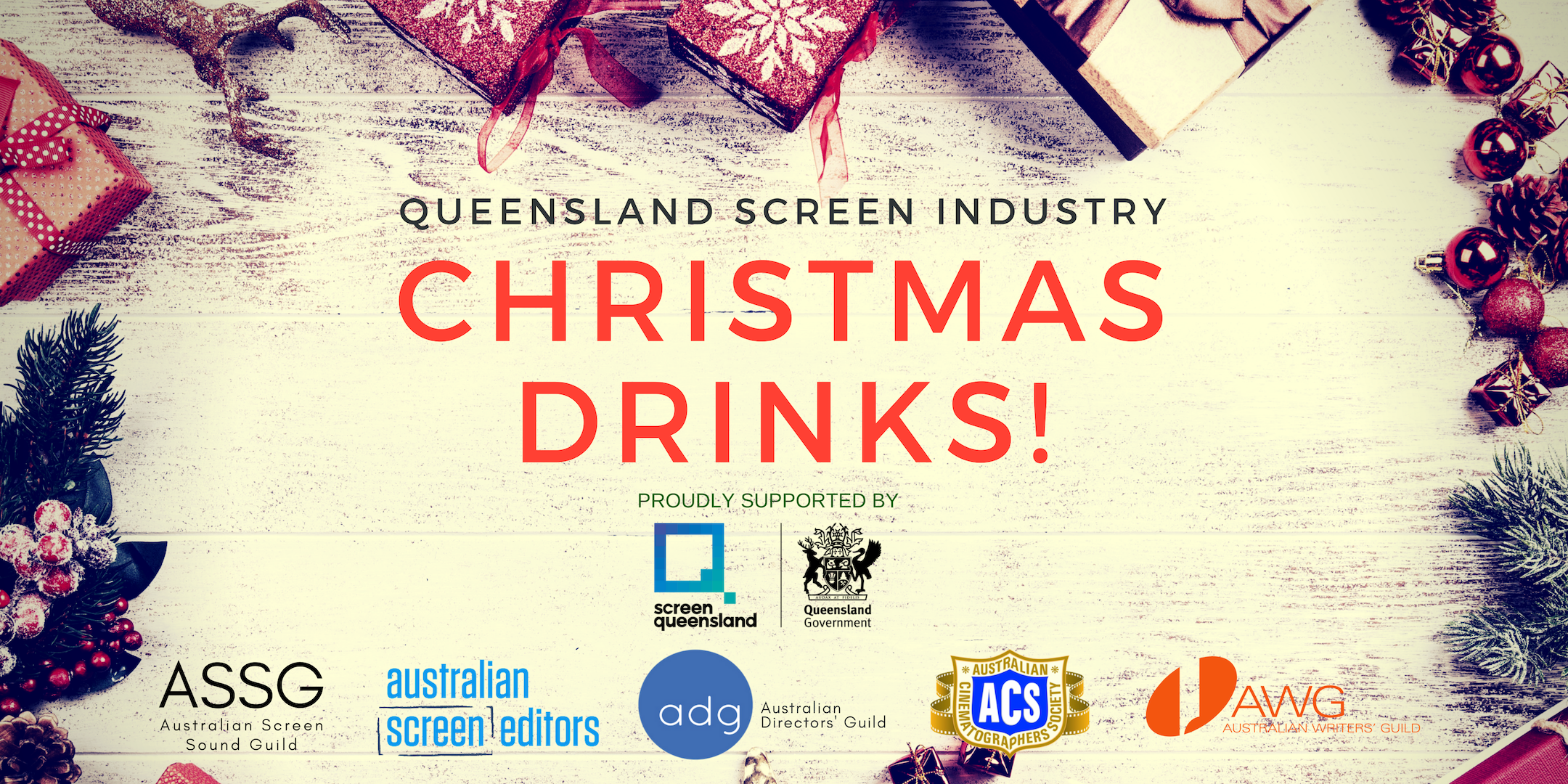 QLD Screen Industry Christmas Drinks Header Image